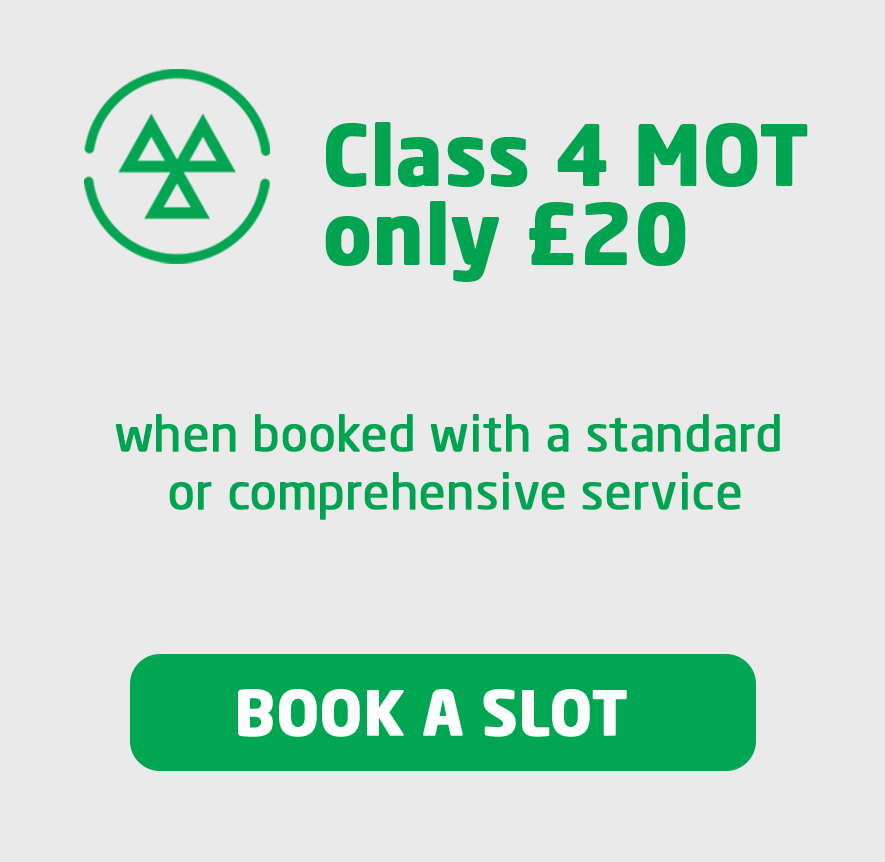 MOT Class 4 £20 when booked with a service