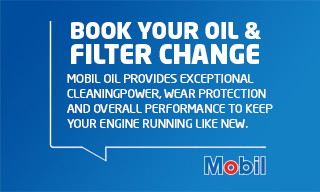 """Mobil Oil Banner – Book your oil and filter change"